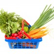 Shopping basket filled with healthy vegetables — 图库照片