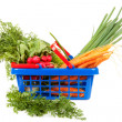 图库照片: Shopping basket filled with healthy vegetables