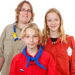 Three Dutch scout girls — Stock Photo