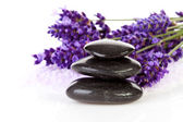 Stacked black stepping stones and lavender flowers — Stock Photo