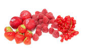 Fresh red fruits raspberries, strawberries and plums — Stock Photo