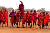 AFRICA, KENYA, MASAI MARA - JULY 2: Masai warriors dancing tradi — Stock Photo