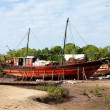 Old African boat on land - Stock Photo