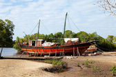 Old African boat on land — Stock Photo
