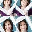 Young womans framed expressions — Stock Photo