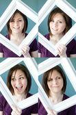 Joven mujer enmarcado expresiones — Foto de Stock