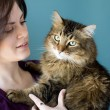 Stock Photo: Young woman with pet cat