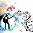 A musician man playing a guitar — Stock Vector