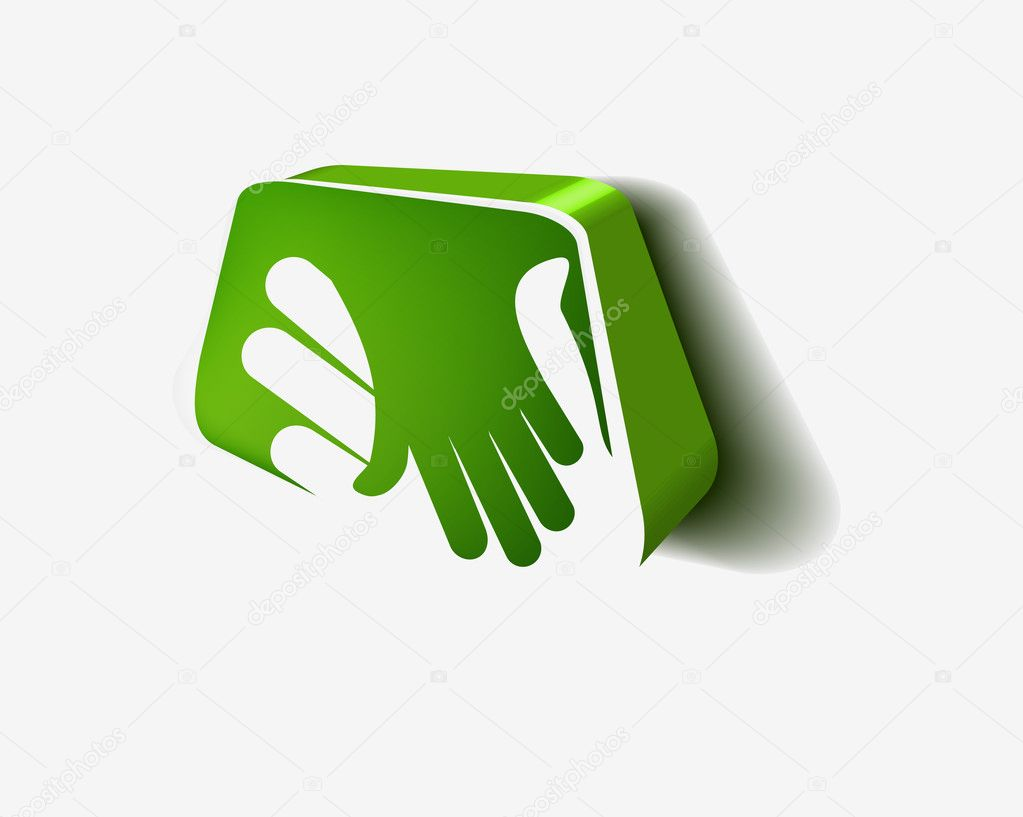 Vector 3d icon of shaking hands design. — Stock Vector #5471212