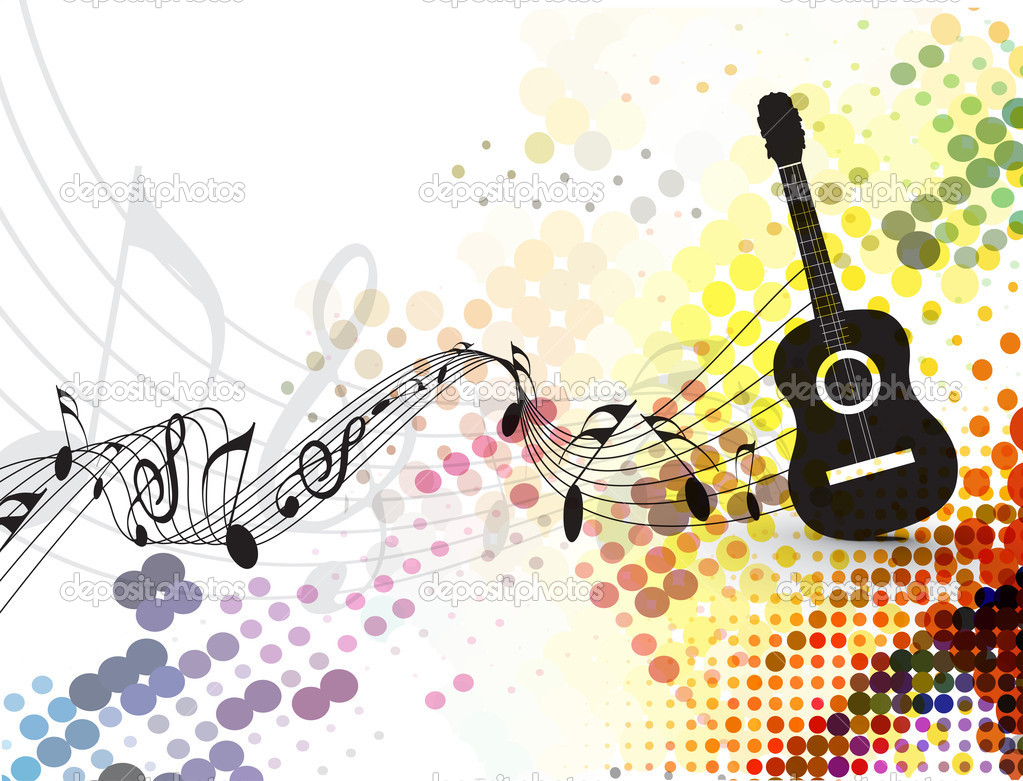 Guitar playe with music note background — Stock Vector ...