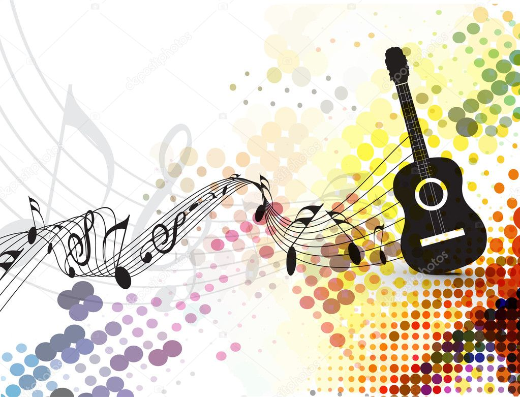 3d Musics Guitar Backgrounds: Guitar Playe With Music Note Background