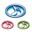 Royalty-Free Stock Vector Image: 3d glossy music notes icon