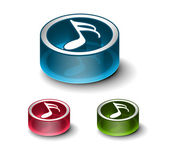 3d glossy music notes icon — Stock Vector