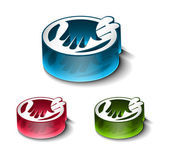 3d glossy shaking hands icon — Stock Vector