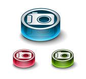 3d glossy camera web icon — Stock Vector