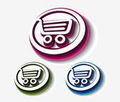Shopping cart set, — Stock Vector