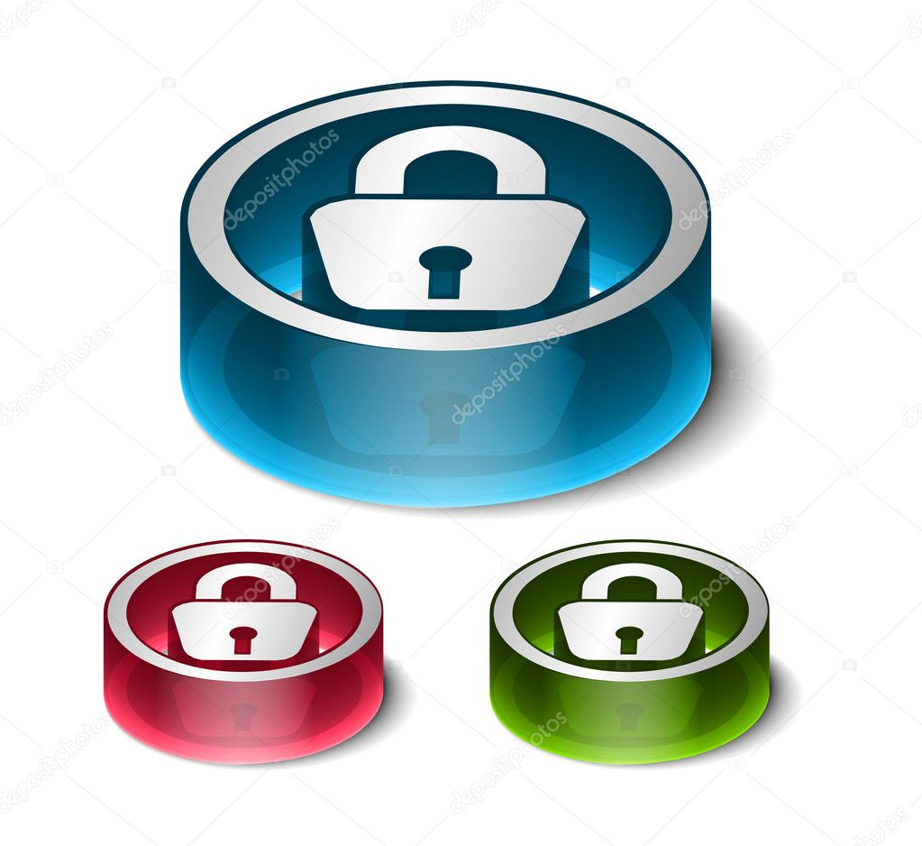 3d glossy lock icon, blue isolated on black background.  Stock Vector #5725039