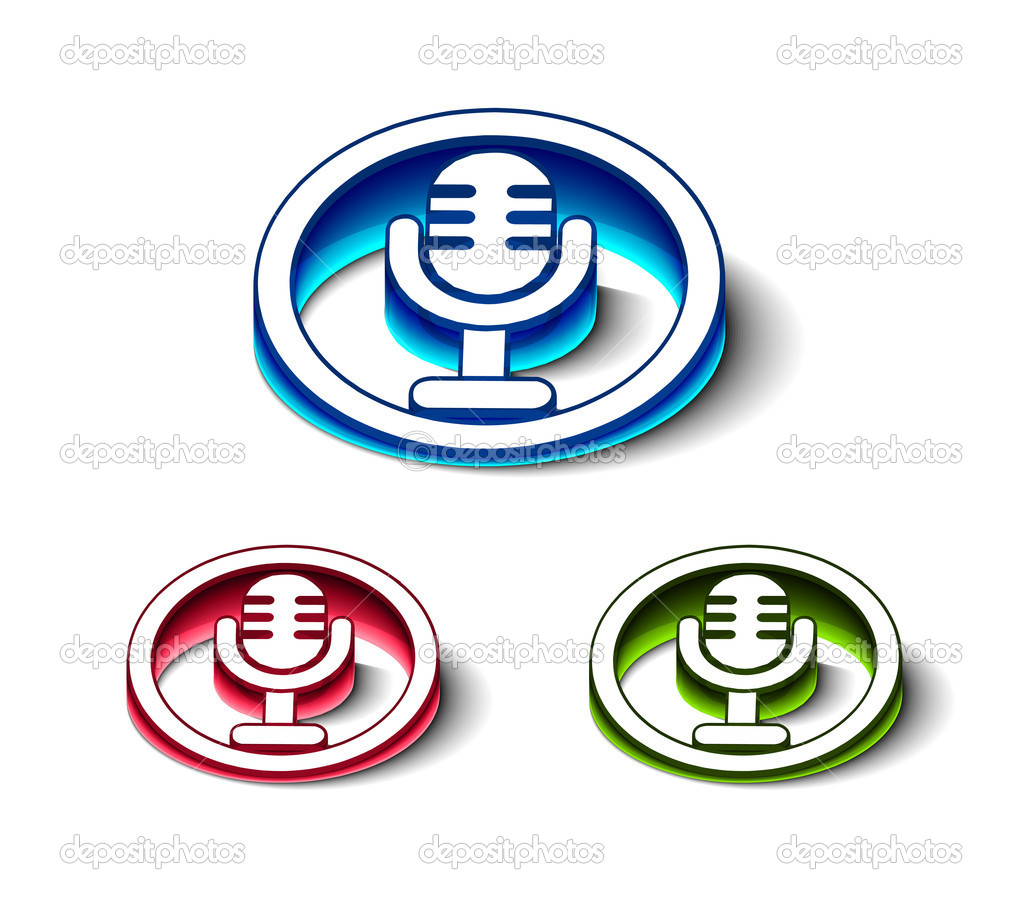 3d glossy mic icon, includes 3 color versions. — Stock Vector #5725700