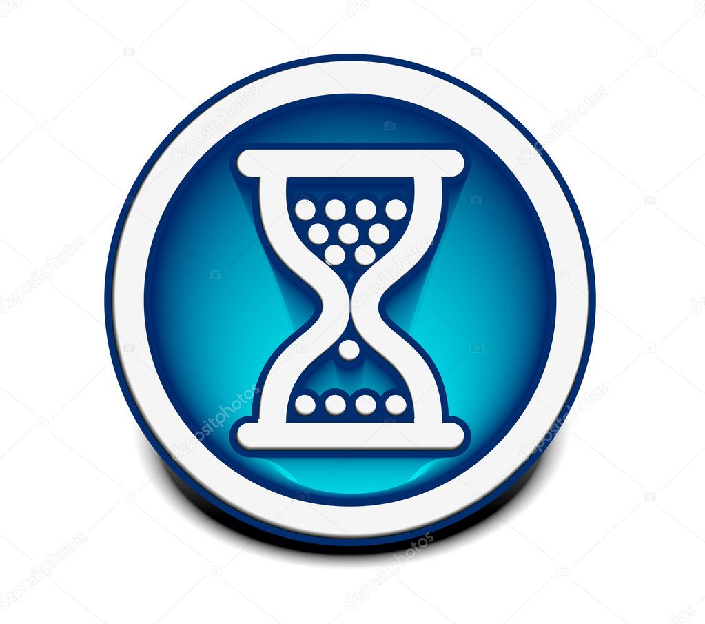 Vector glossy hourglass web icon design element. — Stock Vector #5728253