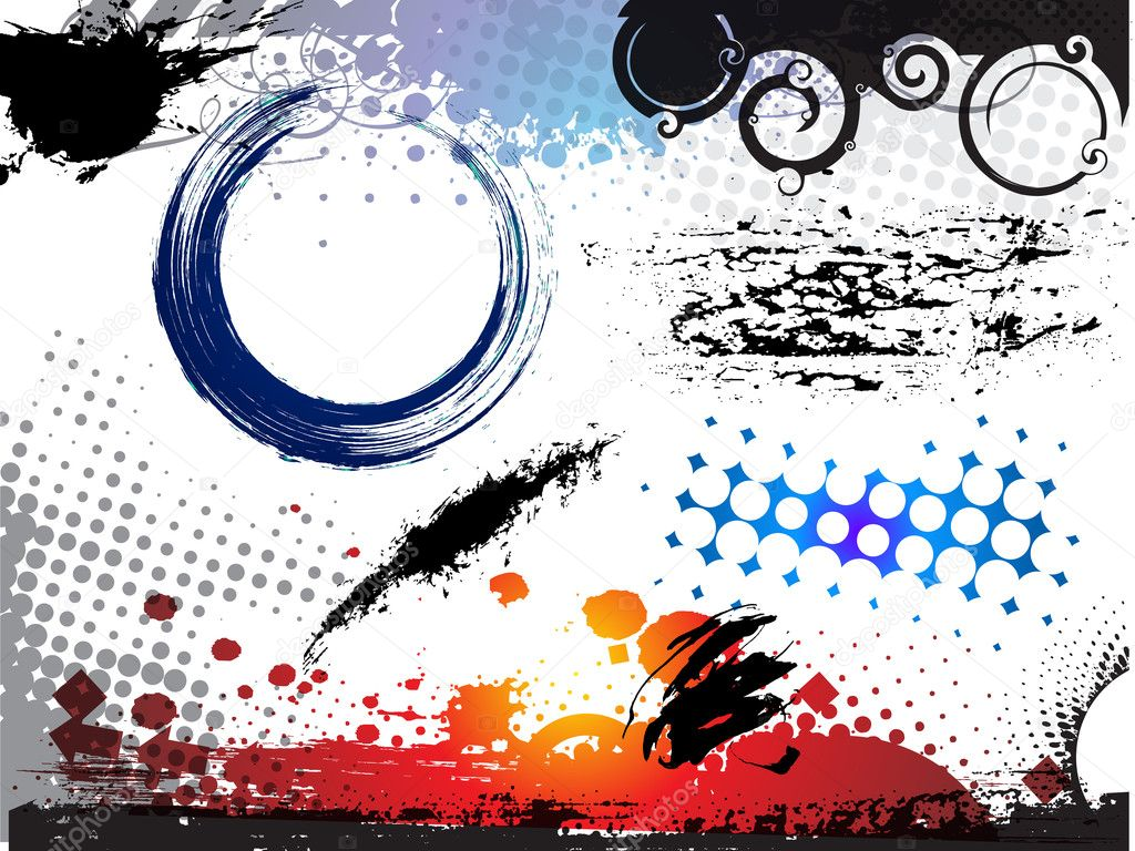 Abstract modern vector illustration,grunge elements with retro shapes,ink splat. — Stock Vector #5735790