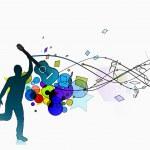 siluett en man dansar njuta av musik — Stockvektor