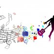 Silhouetted a man dancing enjoy music — Stock Vector