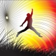 A young man is jumping in field - Imagen vectorial