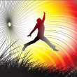A young man is jumping in field - Image vectorielle