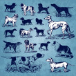 Royalty-Free Stock Imagem Vetorial: Dogs vintage set (vector)