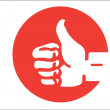 Red thumbs up finger okay sign. vector illustration — Stock Vector