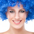 Woman wearing a blue retro wig — Stock Photo #6677432