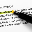 Knowledge text highlighted in yellow — Stock Photo