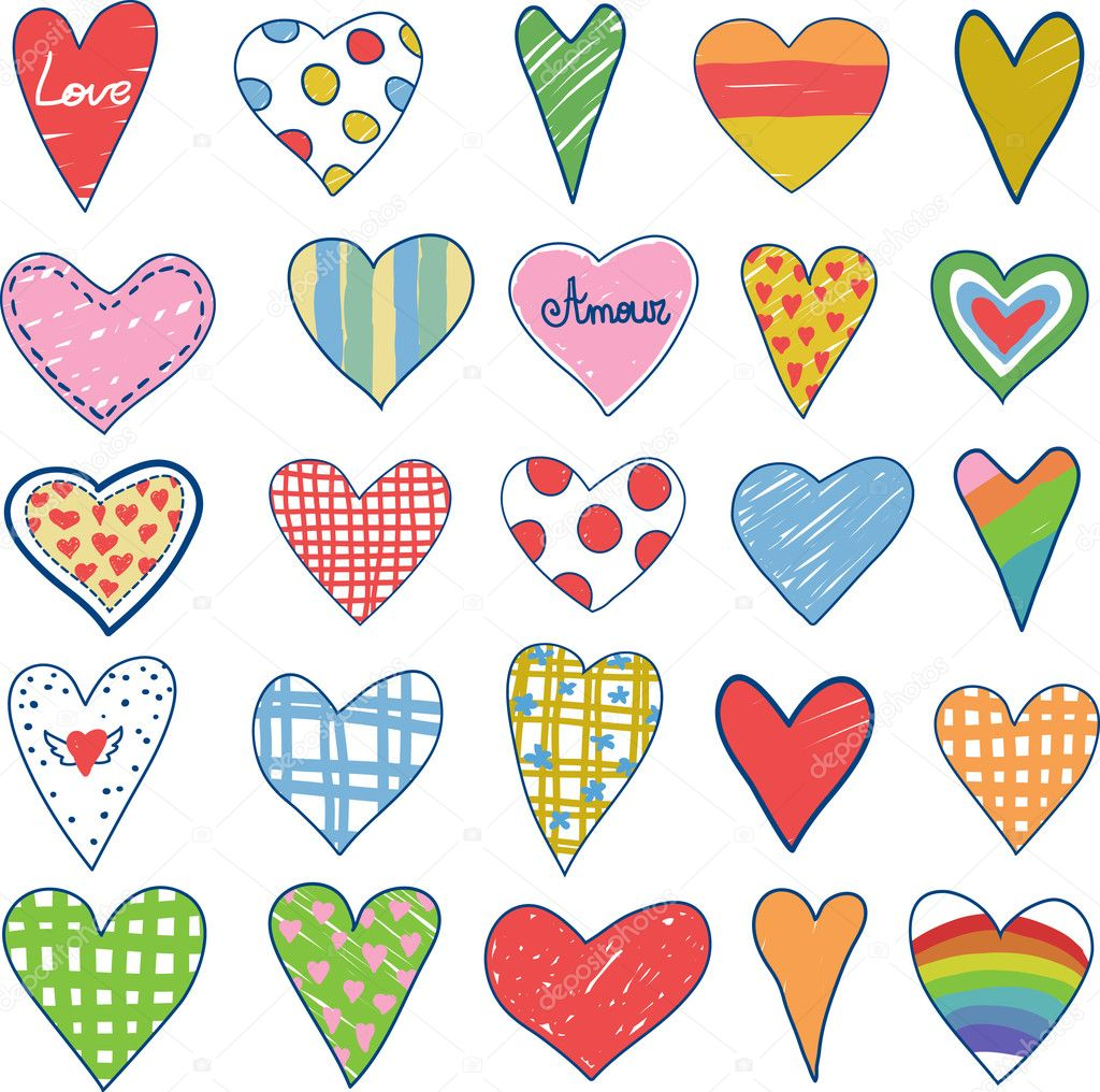 Set of doodle hearts  Stock Vector #5717764