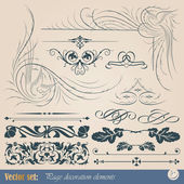 Calligraphic design elements and page decoration — Stock Vector