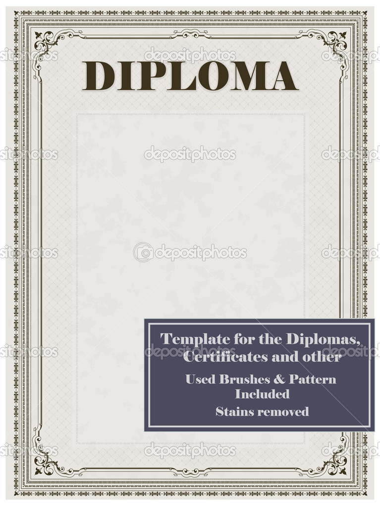 Vintage frame, certificate or diploma template. Used brushes and pattern included.  — Stock Vector #5425009