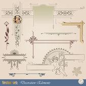 Elementos decorativos para el diseño de materiales impresos — Vector de stock