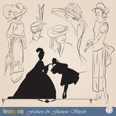 Elegant vintage fashion sketch — Stock Vector
