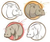 Sketch Hippo — Stock Vector