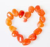 Heart of semi precious stones. Over white — Stock Photo