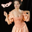 Stylized rococo portrait of womin historical costume with cri — Stock Photo #6636918