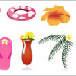 Vector Summer Beach Items - Stock Vector