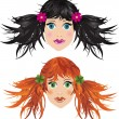 Cartoon Girl Faces - Image vectorielle