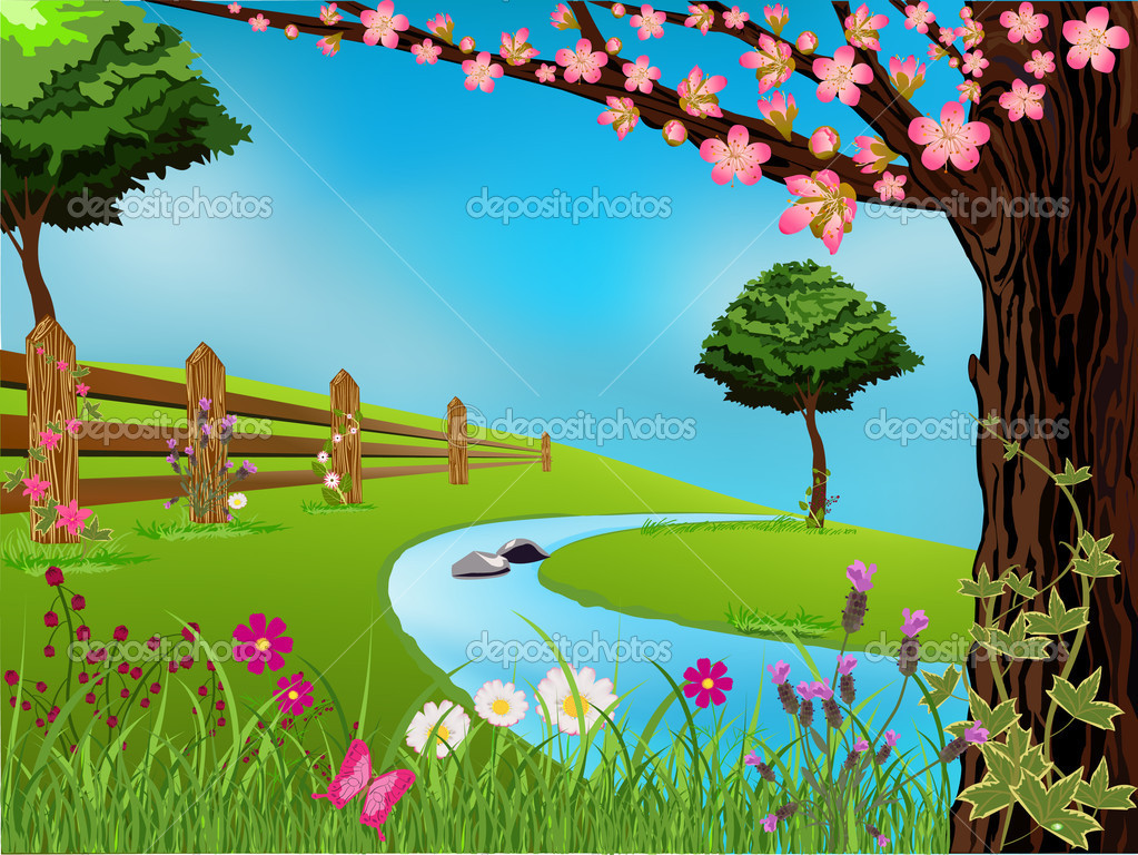 Spring scene with flowers, trees and beautiful sky — Stock Vector #5779924
