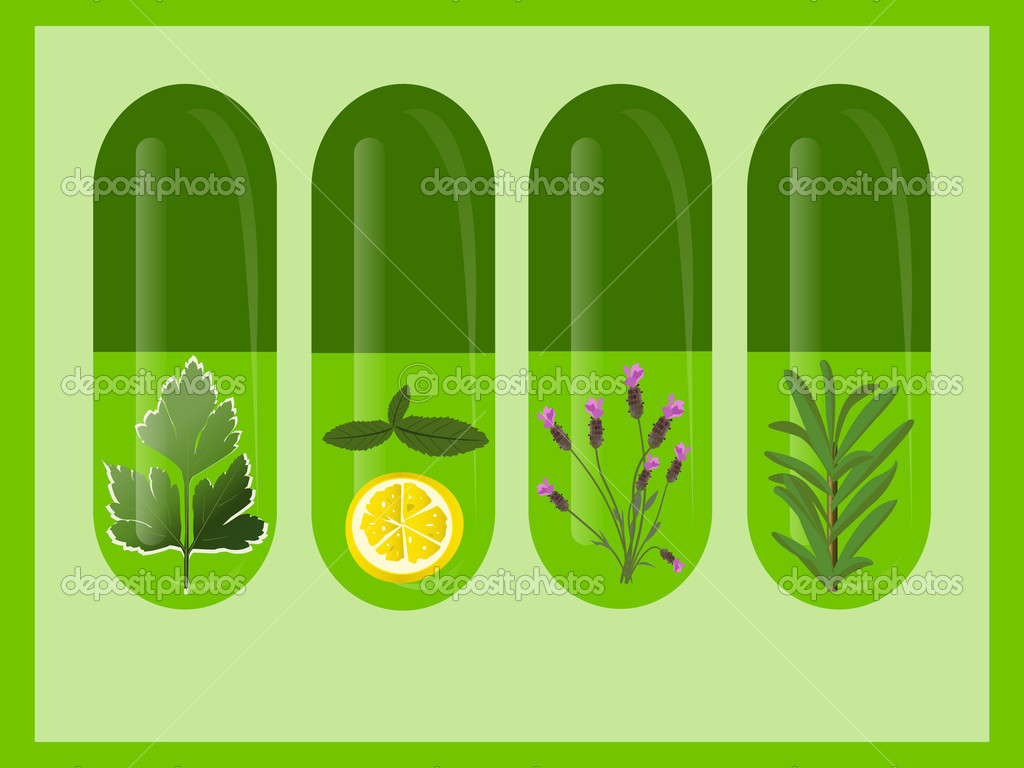 Herbal medicine with herbs and lemon  Stock Vector #5779940
