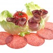 Tasty appetizer of meat,salad and tomato — Stock Photo