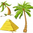 Palm trees and Egypt pyramid - Stock Photo