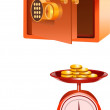 Royalty-Free Stock Photo: Safe and Basket scale full of gold coins.