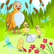 Duck with ducklings. — Stock Photo