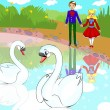 Couple in love swans — Stock Photo