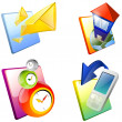 Icon set: home, mail, cell phone, clock. — Stock Photo #5457760